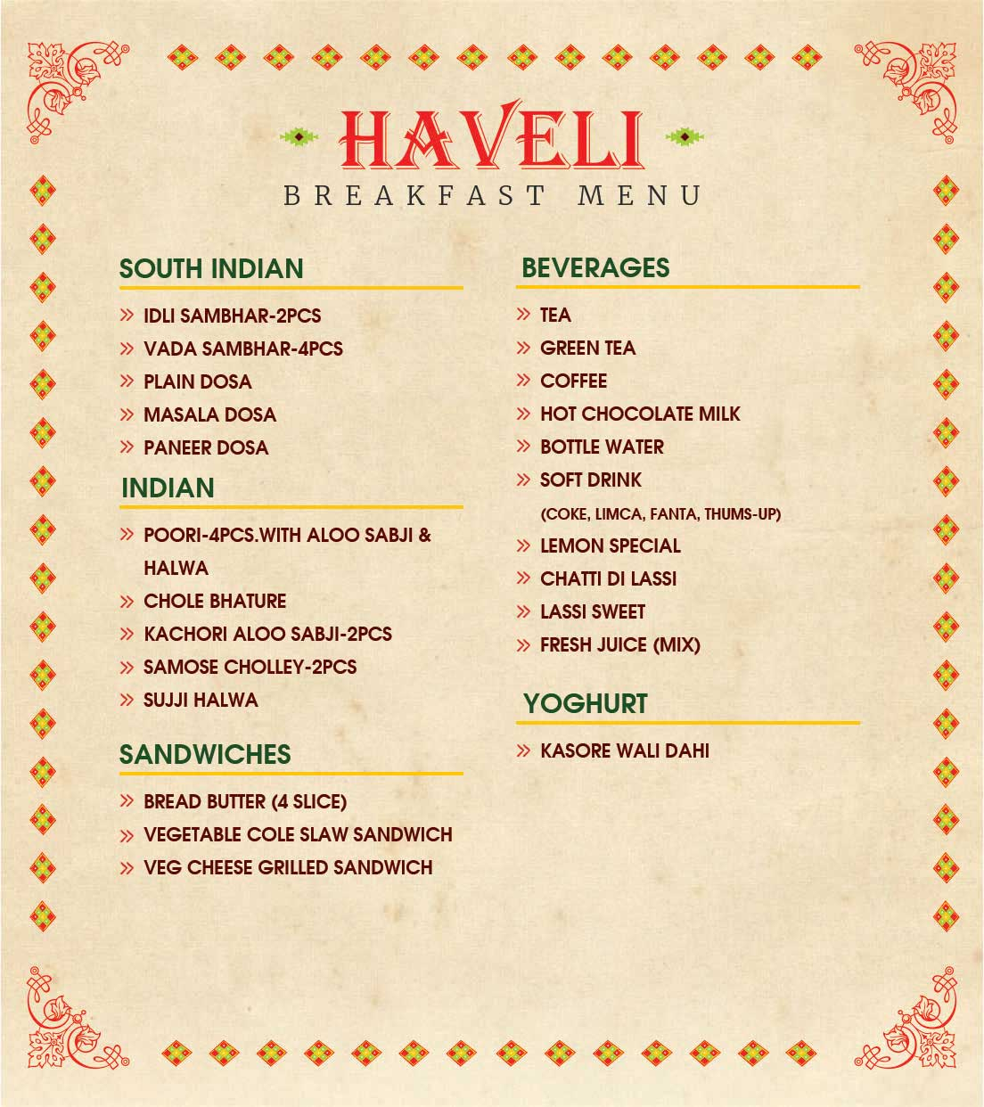 Jalandhar Haveli food menu
