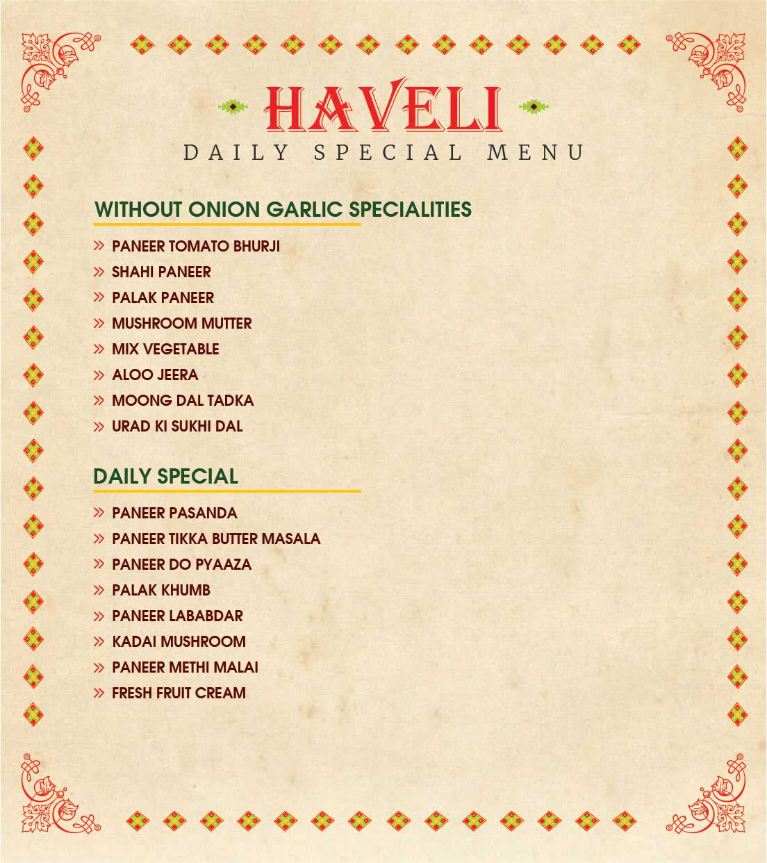Haveli Jalandhar breakfast menu